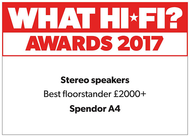 What Hi-Fi - Awards 2017 - Best floorstand speakers - Spendor A4